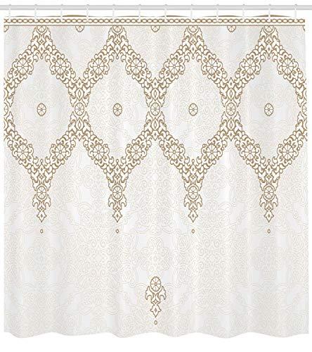 ABAKUHAUS Marocco Tenda da Doccia, Sfondo Ornato Tradizionale Elementi di Colore Morbido Orientale, Idrorepellente Fabric Anelliset, 175 x 220 cm, Cammello Bianco