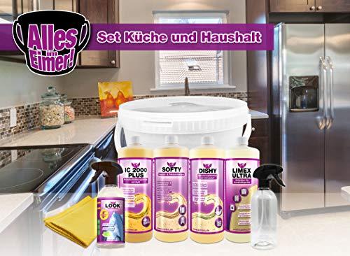 KABITEC - ALLES IM EIMER Reinigungsset Küche und Haushalt, 8-teilig - zur professionellen Reinigung in Küche und Haushalt │ alles im praktischen 10 Liter Kuststoff-Eimer -