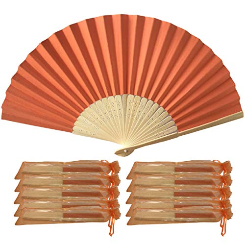 rangebow phf01orange 10Stück Großhandel von Papier Hand Fan Bambus Rippen Hochzeit Party für Geschenk