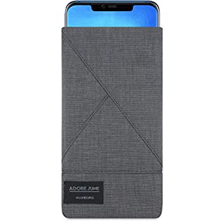 Adore June Huawei Mate 20 Pro Case, Pouch [Series Triangle] Original Cordura [Custom Made] Fabric Sleeve [Display Cleaning Effect] for Huawei Mate 20 Pro [Dark Grey]