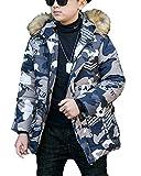 Kinder Camouflage Jacke Junge Warm Jacke Mantel Mit Kapuze Steppjacke Freizeitjacke Grau 160