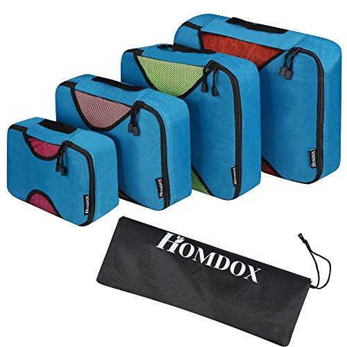 Teamyy Kleidertaschen-Set 4-teilig Reisetasche in Koffer Wäschebeutel Schuhbeutel Kosmetik Aufbewahrungstasche Farbwahl (Blau)