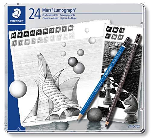 Staedtler Mars Lumograph 100 G24 S. Pack de 24 lápices de dibujo de distinta dureza.