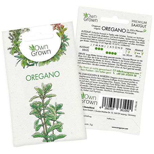OwnGrown Premium Oregano Samen (Origanum vulgare), Oreganosamen mehrjährig, Saatgut für rund 200 Oregano Pflanzen