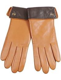 ELMA Nappaleder-Handschuhe abgefüttert mit Thinsulate-Fleece, Kontrast-Aufschlag und vergoldetem Logo