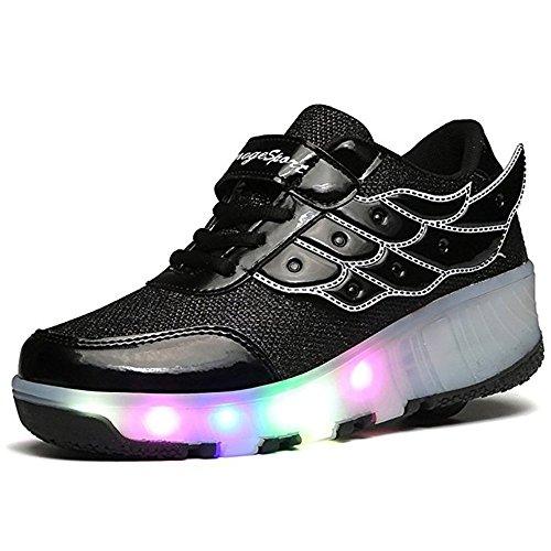 Nsjy.fly bambino led scarpe con rotelle, singola rotelle lampeggiante sneaker per bambina e uomo, outdoor sneaker
