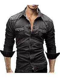 MERISH hommes de chemise jeans Denim SlimFit Manche Longue Casual décontracté et moderne 46