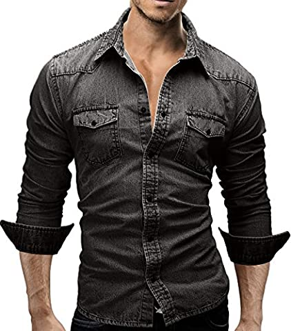 MERISH Casual Jeans Shirt for Men Slim Fit Long Sleeve with press studs modern and stylish Modell 46 Anthracite