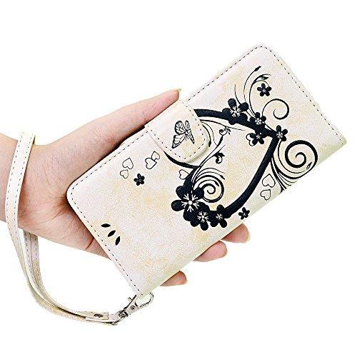 iPhone 5/5S Hülle Kasos iPhone 5/5S Case PU Ledertasche Handyhülle Book Cover Schutzhülle Flipcase in Weiß mit Geprägte Herzen Design Weiß