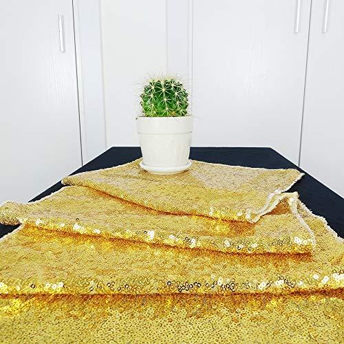 HeMiaor Tischläufer mit Pailletten, 30,5 x 152,4 cm, goldfarben, Gold, 12x60