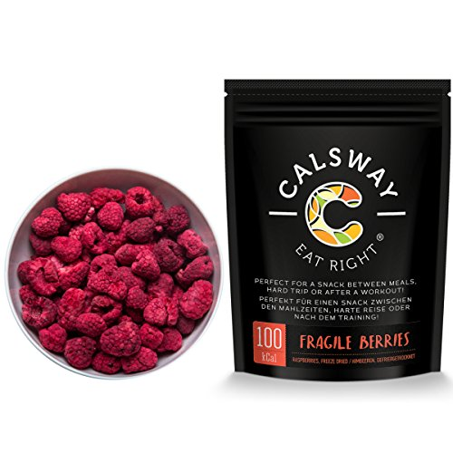 (Pack of 6) 100 Calories FRAGILE RASPBERRIES by Calsway - Freeze Dried Whole Raspberries Test