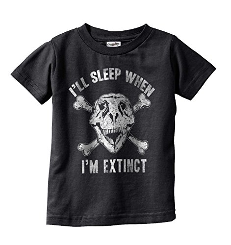 Crazy Dog Tshirts Toddler I'll Sleep When I'm Extinct Funny Dinosaur Infant Tee For Kids (Black) 2T - Baby-Jungen - 2T (T-shirts Mutterschaft Neuheit)