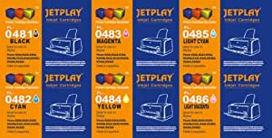 6 High Capacity JETPLAY Compatible Ink Cartridges Multi-pack T0487 - 1 x T0481, 1 x T0482, 1 x T0483, 1 x T0484, 1 x T0485, 1 x T0486 for Epson Stylus Photo R200 R220 R300 R300M R320 R325 R340 R350 RX500 RX600 RX620 RX640 ink jet Printers