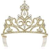 DcZeRong Gold Tiara Crown Prom Crown Gold Pageant Tiaras Gold Rhinestone Tiaras Gold Prom Tiaras