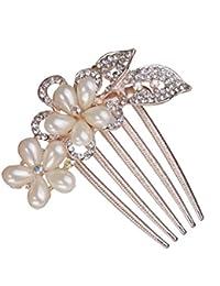Clip Peineta Peine de Cabello Pelo 5-pin Diamantes de Imitación Joyas para Mujer # 1
