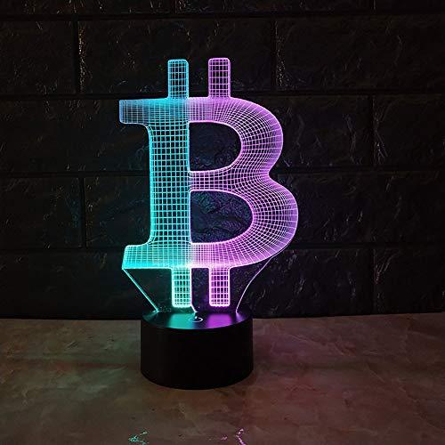 LWPCP Bitcoin 3D Visuelle Nuit Créative Colorée Tactile Charge LED Stéréo Lumière Cadeau Atmosphère Lumières