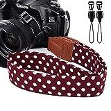 Dirky sangle pour appareil photo reflex vintage bandoulière/sangle de cou pour tous les appareils photo dslr Canon Nikon Sony Olympus Pentax etc,Brown.