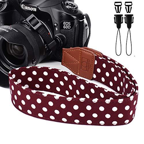 Eorefo Kameragurt Vintage Polka Dot Kamera Schultergurt HalsTragegurt für DSLR Kamera Braun. -