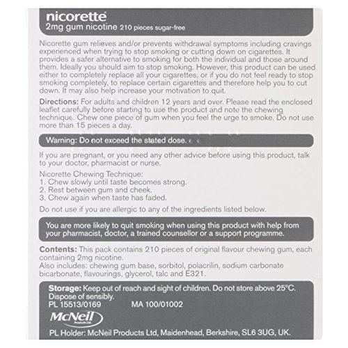 Nicorette Original Gum 2 mg, 210 Pieces