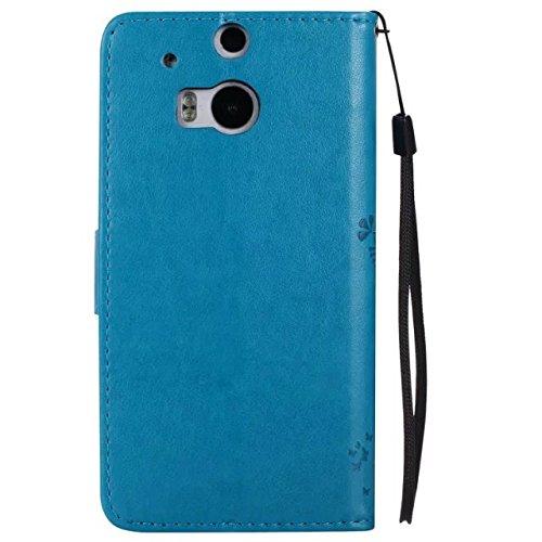 HTC M8 Cover Case, Embossing gepresste Blumen Katze und Baum Muster Solid Color PU-Leder Tasche weichen Silikon-Cover Flip-Stand Geldbörse mit Lanyard für HTC M8 ( Color : 5 , Size : HTC M8 ) 3