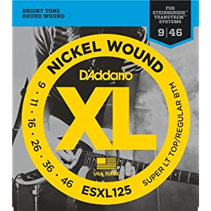 D'Addario ESXL125 XL Nickel Wound Super Light Top/Regular Bottom  (.009-.046) Double Ball End Electric Guitar Strings
