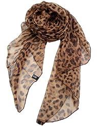 Prettystern - XL bis XXL Größe lang Leo Leopard 100% Laufsteg Seide Stola Schal S3502
