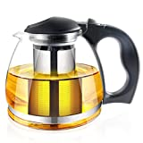 Glas Teekanne mit-Ei – 1500 ml, Tee Pot Kunststoff Griff & Edelstahl Filter für Blooming & Loose Tee – Maker Brewer & Steiler