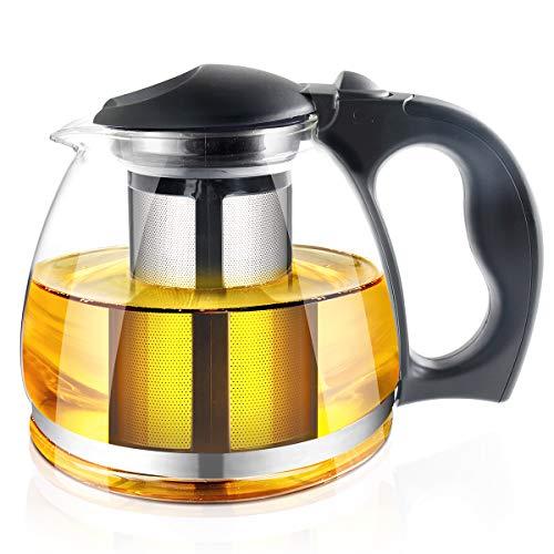 Théière en verre avec infuseur – 1500 ml pot de thé – poignée en plastique et filtre en inox pour la floraison et le thé à feuilles mobiles – Maker Brewer & raid