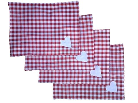 Set of 4 - Red Gingham Kitchen Dining Table Place Mats Standard Size by KAKIA DESIGNS UK