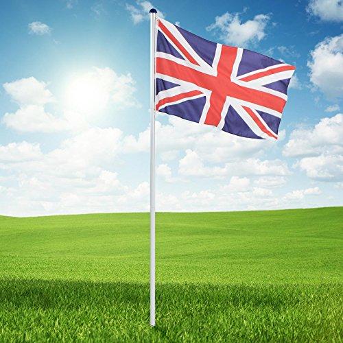 Jago Aluminium Fahnenmast mit UK- und englischer Flagge (350 x 5 cm) | Fahnenstange mit Höhe von etwa 6,50 m | integrierter Seilzug für schnelles Hissen