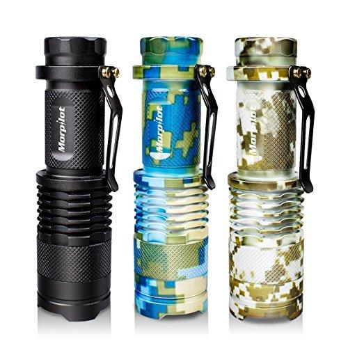 Tattica torcia elettrica, morpilot n°3 mini flashlight led portatile, 350 lumen ultra luminoso con fuoco regolabile e 5 modalità di illuminazione per campeggio, escursionismo, ciclismo ed usa di emergenza