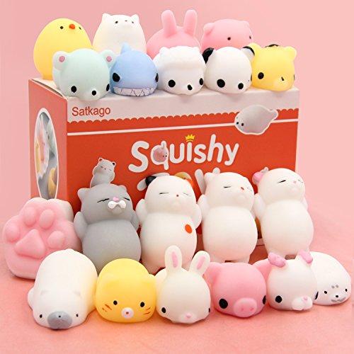 Mini Squishy Kawaii, Satkago 20 Pz Antistress Squishy Animali Mochi Squeeze Giocattoli Soft Squishy Mini Coniglio Cat per Bambini Gift o Come Regalo di Natale