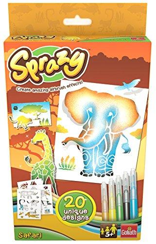 Goliath 35203 - Sprazy Refill Safari, Airbrush Nachfüll-Set mit Schablonen und Stiften, Kreativer Malspaß für Jung und Alt, ab 4 Jahren -