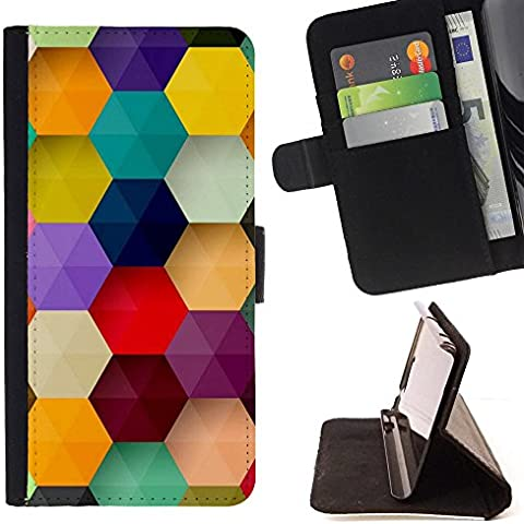 All Phone Most Case / Cellulare Smartphone cassa del cuoio della calotta di protezione di caso Custodia protettiva per SAMSUNG GALAXY C5 // polygon hexagon purple pastel mint