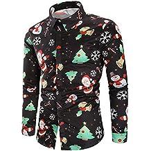 DEELIN Navidad Camisa De Manga Larga, Los Hombres Copos De Nieve Casual Santa Candy Impresa