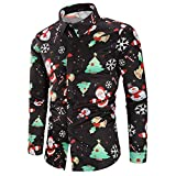 Yvelands Herren Bluse lässig Schneeflocken Santa Candy gedruckt Weihnachten Shirt Top(EU-46/M,Schwarz)