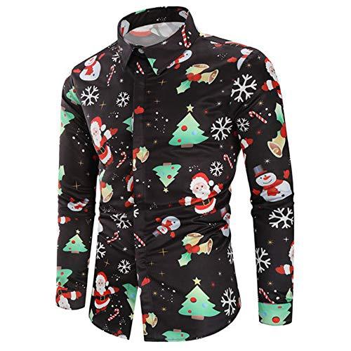 Fenverk Lange äRmel Weihnachten Geschenk Hemden Weihnachtsmann Drucken Schneemann Party Gedruckt Designs Herren Hemd Taste Runter Weihnachtsstil Baum üBergrößE Tops Sweatshirts(Schwarz 1,XL)