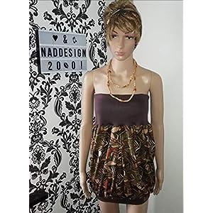 Bandeau Kleid BOHO Style Federn, oliv/braun
