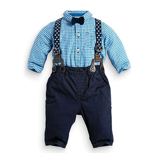 puseky Baby Jungen Fliege Plaid Hemd + Hosenträger Hose Gentleman Outfits (0-6 Monate)