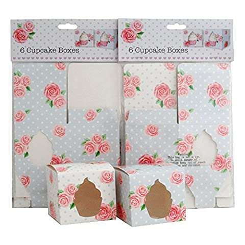 Pink Rose Party Birthday Decoration Set of 12 Cup Cake Gift Boxes (2 packets of 6)