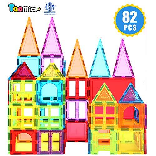 Taomics 82PCS Magnetische Bausteine mit Rädern, Klare Gebäude Fliesen mit starken Magneten, Premium 3D STEM Lernspielzeug BAU Spielbretter Set für Phantasie Inspiration Spatial Thinking Entwicklung
