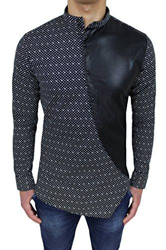 Camicia uomo slim fit blu nero con colletto alla coreana e bottoni trasversali (xxl)