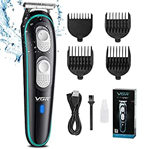 VGR Professional Hair Clippers Rechargeable Cordless Beard Hair Trimmer Haircut Kit with Guide Combs Brush USB Cord for Men, Family or Pets