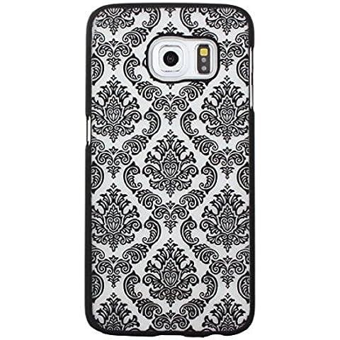 Sannysis® Scolpito pelle della copertura damasco Vintage Hard Case per Samsung Galaxy S6 Edge(nero)