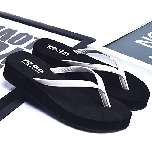 Cailin Sandals, Chapeau antidérapant féminin à la mode Chaussons souples en caoutchouc Chaussons de plage Blanc / Noir / Or / Orange ( Couleur : Blanc , taille : EU38/UK5.5/CN38 ) Blanc