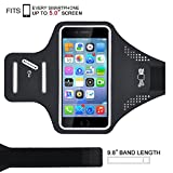 iPhone 6/6s/7/ Armband, Big Deal ASAKUKI Sweat Resistant Sports Armband For Samsung Galaxy LG HTC Nokia MOTO Any Screen Up to 5.0 Inches With Extension Band, Key&Card Holder, Cable Locker (Black)