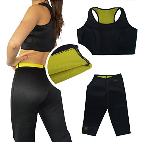 DP Design® - Conjunto de camiseta y pantalón adelgazante, efecto sauna, talla XL