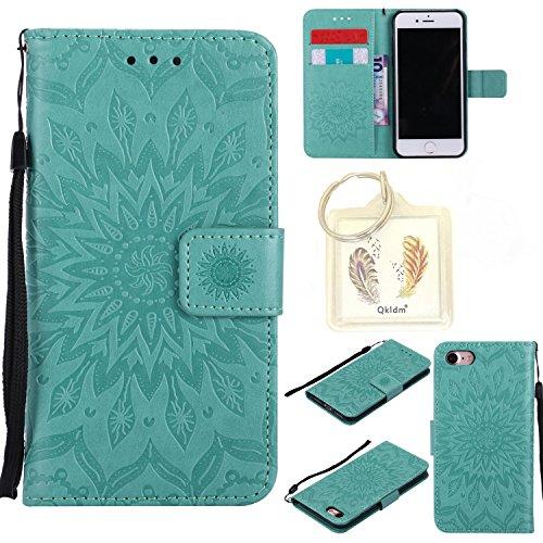 """für Iphone 7G (4,7"""") Geprägte Muster Handy PU Leder Silikon Schutzhülle Handy case Book Style Portemonnaie Design für Apple Iphone7G (4,7"""") + Schlüsselanhänger(1W) (4)"""