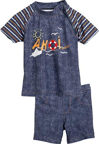 Playshoes Jungen Badeshorts 2-Teiliges Bade-Set Ahoi mit UV-Schutz, Blau (Jeansblau 3), 74 (Herstellergröße: 74/80)