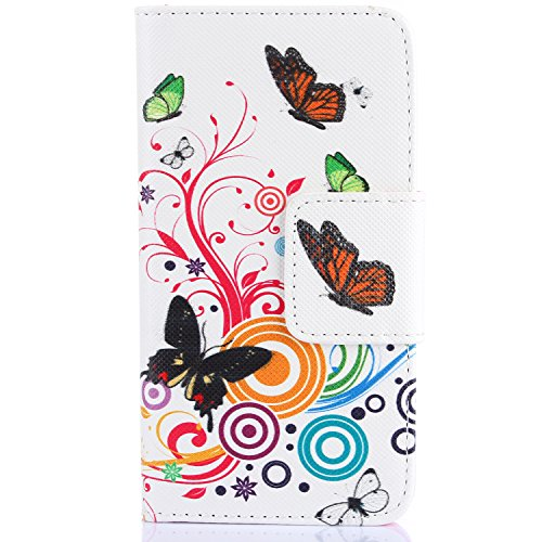 iPhone 4S Hülle, iPhone 4 Hülle,ISAKEN iPhone 4S Hülle Case,Handy Case Cover Tasche for iPhone 4S / iPhone 4, Bunte Retro Muster Druck Flip PU Leder Tasche Case Hülle im Bookstyle mit Standfunktion Ka Schmetterling
